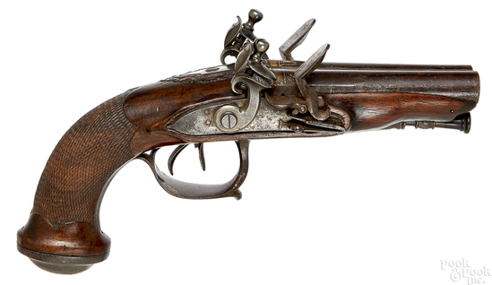 European flintlock double barrel pistol