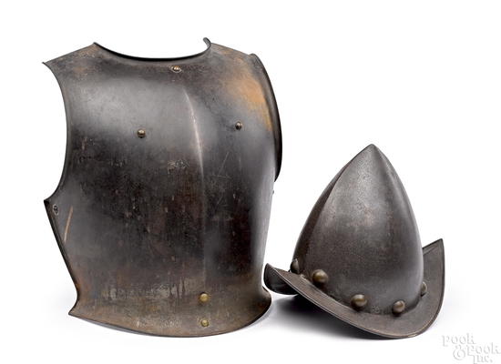 European icabasset peaked helmet and breast plate