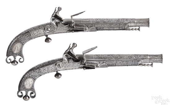 Matched pair of Scottish flintlock pistols