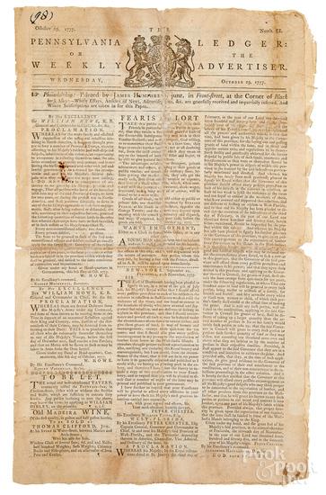 Pennsylvania Ledger Revolutionary War newspaper