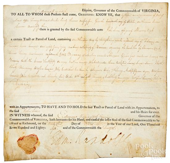 Edmund Randolph Governor of Virginia signed lette