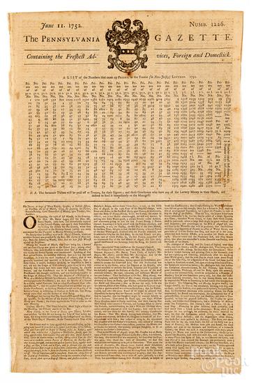 Ben Franklin's The Pennsylvania Gazette newspaper
