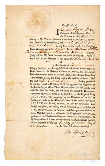 Edward Shippen IV signed certificate
