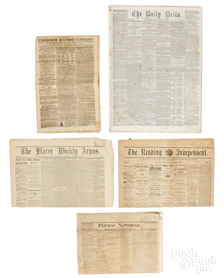 Nine early newspapers, to include Civil War etc