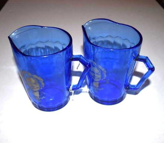 Shirley Temple Cobalt Pitchers