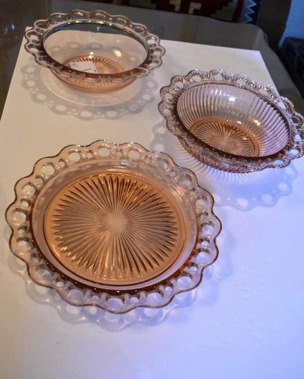 Depression Glass Serving Pcs (3) Pink Ring Bowls and Platter