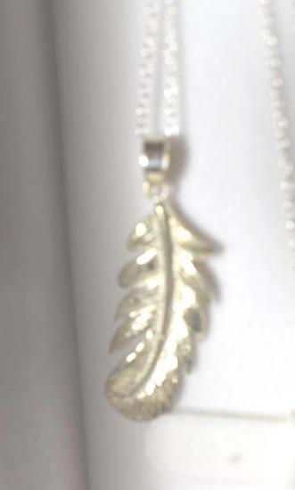 Sterling curved Feather Pendant on Sterling 925 Chain