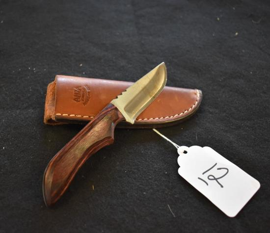 Anza Fixed Blade File Knife with leather sheath