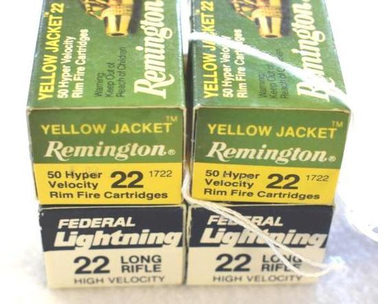 Four Boxes .22 Ammo, Remington and Federal