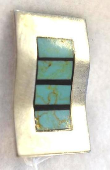 Silver Pendant with Turquoise Inset