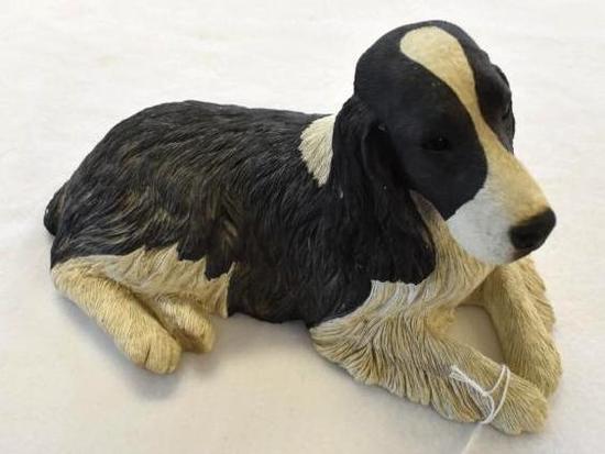 Black & White Springer Spaniel Sandcast Sculpture
