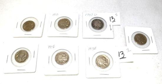 Collection of Buffalo Nickels to include 1937, 1937-D, 1935 and no date