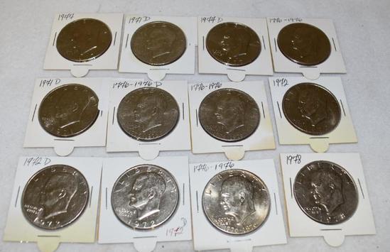 Mixed Lot 12 Eisenhauer Dollars: 1971-D, 72-77-77-D-76-96 Comm.
