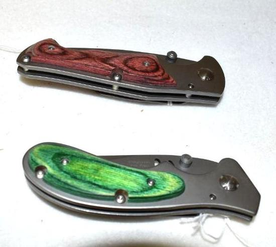 Folding Knives with pocket clips, as new Design by Jim Frost, 440 Stainless