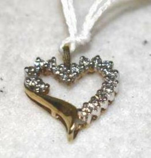 10K Gold Heart Pendant with Diamonds
