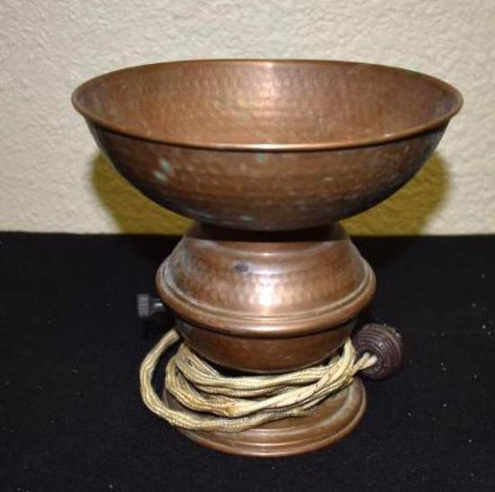 Antique Copper Lamp, old electric cord plug in