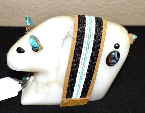 Carved Bear Fettish in stone with turquoise trims 3 inTall