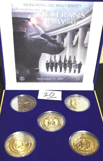 "Veteran's Day 2009 ""Honoring All Who Served"" set of 5 Bronze Coins in Case"