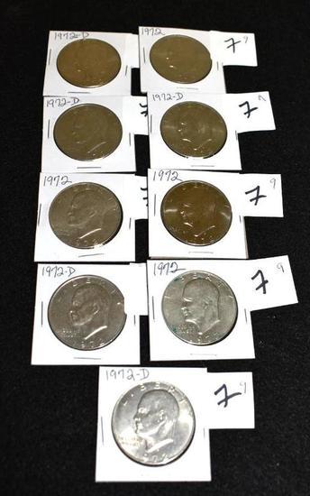 """Eisenhower """"IKE"""" Dollars, 1972 & 1972-D (9)"""