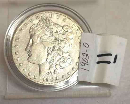 1902-O U S Morgan Silver Dollar, Nice Eye Appeal, some war to Hairline