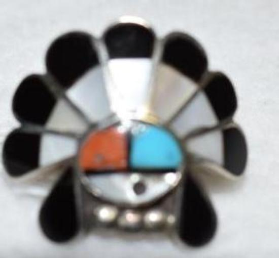 Hopi Inlay Native American Ring with Mother of Pearl, Jet, Coral and Turquoise