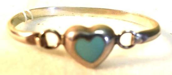 Sterling Bracelet with Turquoise Heart, Marked Mexico 925