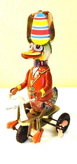 Vintage Duck Riding Bike, Wind up Toy, Tine, complete with Key, working