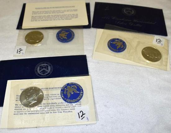 (3) 1971 Uncirculated Eisenhower Silver Dollars, Sealed in Packages