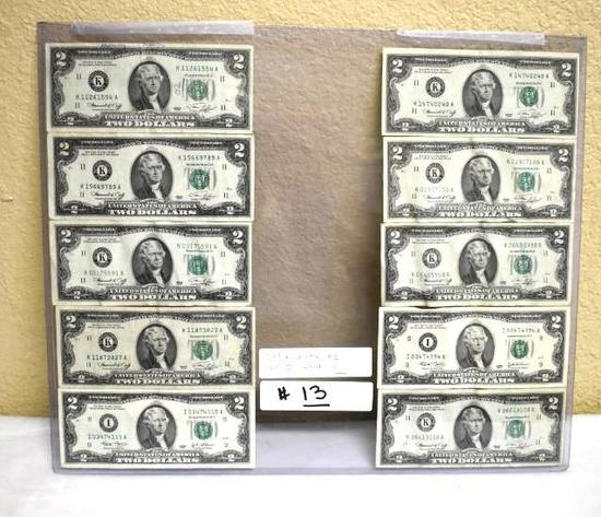 Lot of 10, US $2 Paper Bills 1976 and 2003