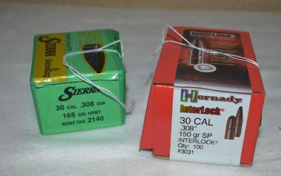 30 Cal/308 Bullets, part boxes Sierra Boat Tail box of 50
