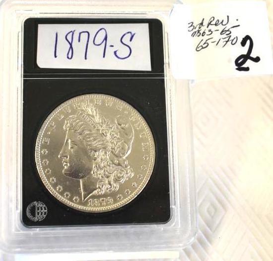 U S Morgan Silver Dollar 1879-S, 3rd Reverse ; Bright Mirror Shine