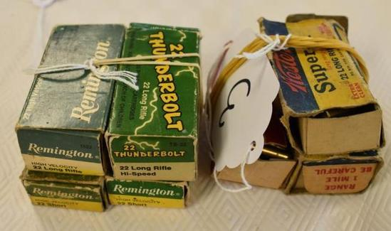 Grouping of Vintage 22 Ammo, Remington, Western, Winchester