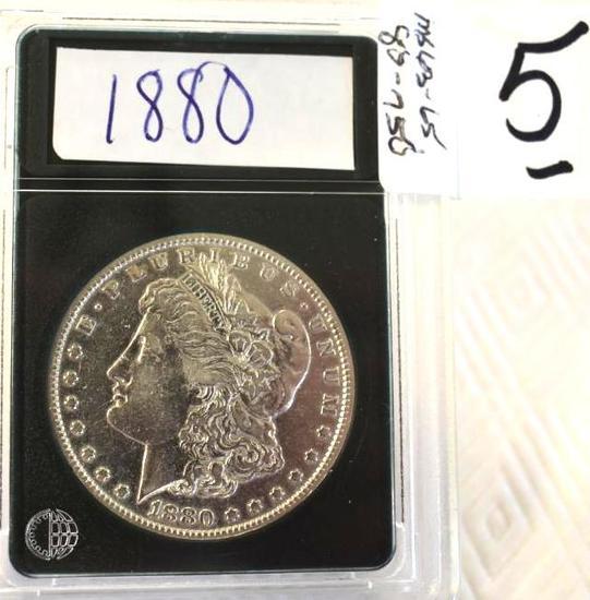 US Morgan Silver Dollar, 1880 with Bright Mirror Shine