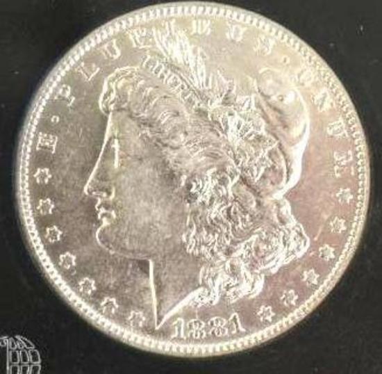 US Morgan Silver Dollar, 1881-O Nice Clear Face, Mirror Shine
