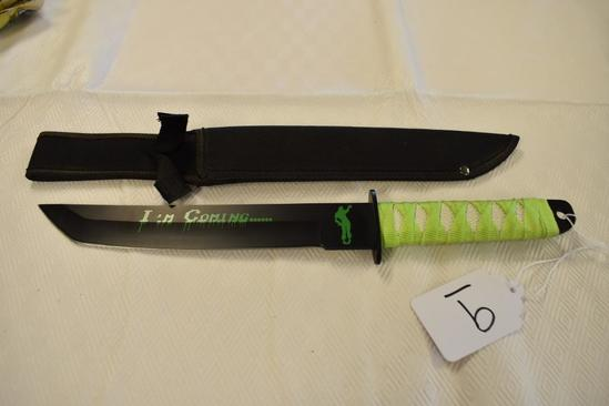 """Zombie Short Samurai Style Knife with sheath """"I'm Coming"""""""