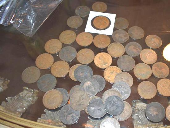 Grouping of Foreign Large Cents 46 pcs, Various Dates and Conditions, Lt 1800's-Early 1900'