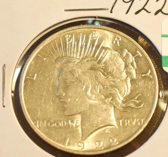 1922 U S Silver Peace Dollar, Nice Clear Details, some tones on reverse