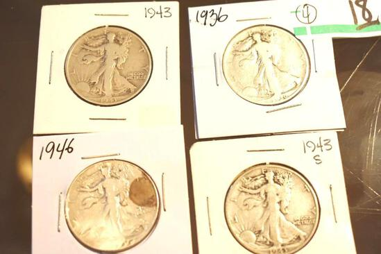 US Walking Liberty Half Dollars 1936-1943, Each year in P, D and S Mints, Various Conditions