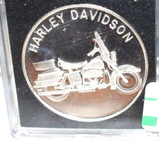 Harley Davidson Motorcycle 1 oz .999 Fine Silver; Great Seal of United States on Reverse