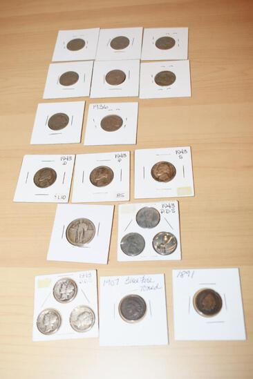 Grouping of US Coins Includes 1943 P-D-S Silver Dimes, Buffalo Nickels, 1907 Indian Head Cent,