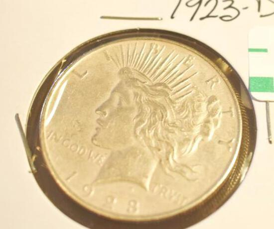 1923-D U S Silver Peace Dollar, Nice clear face and good details