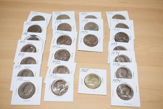 Kennedy Half Dollars 1967 -1974 Various Dates and conditions 24 total