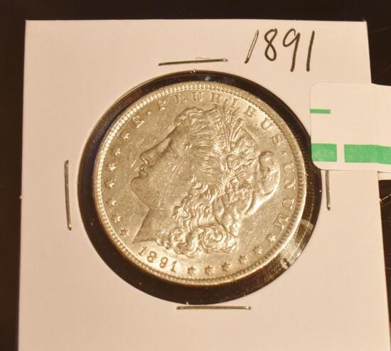 1891 US Morgan Silver Dollar, Good Detail on Tail and Wing Lines