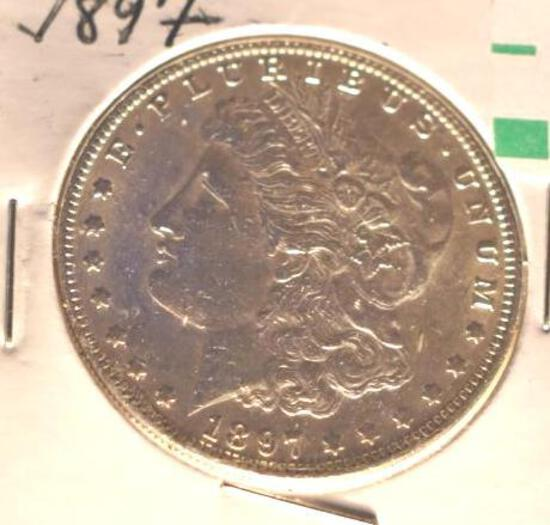 1897 US Morgan Silver Dollar, Bright Mirror Shine, Great Detail on Hairlines, Full Liberty