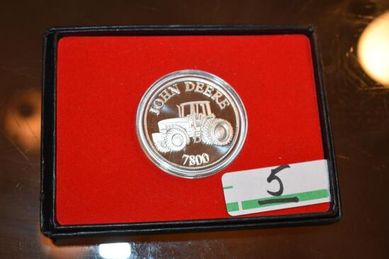 John Deere 1 oz .999 Fine Silver, Unc. round; Tractor on front and Deere on reverse