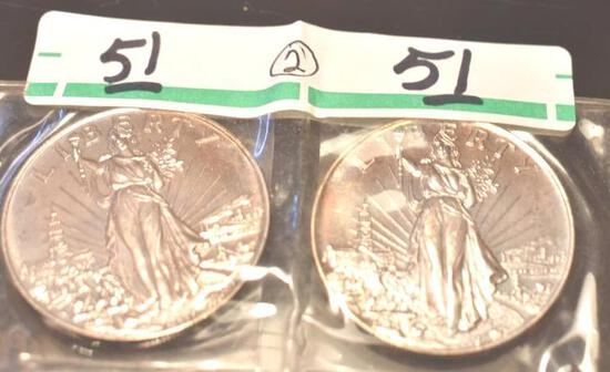 Liberty Silver Trade Units, One Troy Oz each .999 Fine Silver, Uncirculated