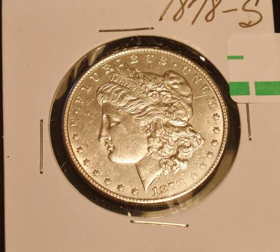 1878-S US Morgan Silver Dollar, Bright Shine, Great Details on Eagle Breast, Wings and Tail