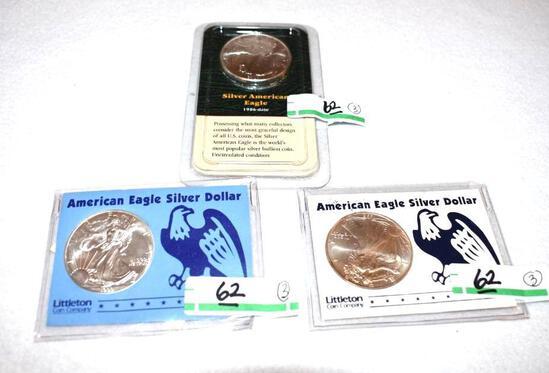 American Eagle Silver Dollars, Uncirculated 1 oz each .999 Fine Silver