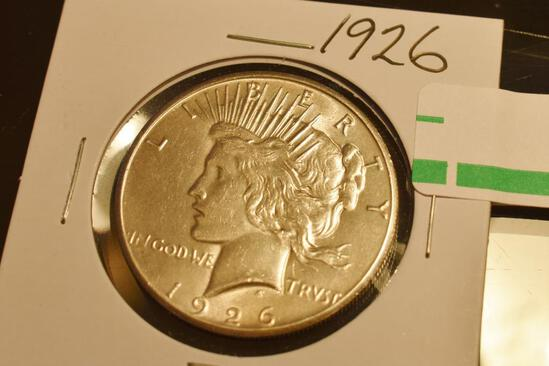 1926 US Silver Peace Dollar, Excellent Coin, Clear Details Front and Back