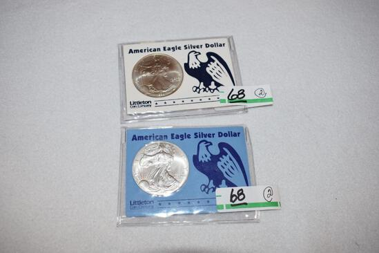 US American Eagle Silver Dollars with Bright Mirror Shine